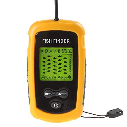 BESPORTBLE Portable Sonar Ultraschall Fischfinder Handheld Wired Fish Finder Sensor Wandler mit LCD-Display (gelb) Portable Sonar