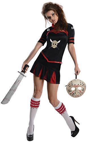Damen Kostüm Jason Voorhees - Freitag der 13. Kostüm Set Damen 3-TLG Korsett Oberteil Mini Rock Jacke, XS, Schwarz