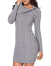 Aleumdr Mujer Vestido de Punto con Botón Suéter Cuello Redondo Jerséis  Casual para ... f7f01fb633f3