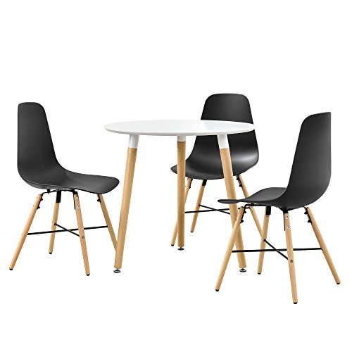 [en.casa]®] Juego de Comedor - Mesa Blanca (Redonda- ø80cm) con 2 sillas de diseño - Set de sillas de Estilo Retro (Negras)