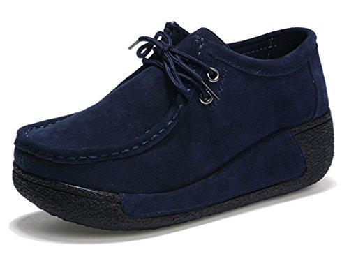 Newzcers Mulheres Casuais Rendas Até Sapatos De Camurça, Os Sapatos De Plataforma Em Execução Azul