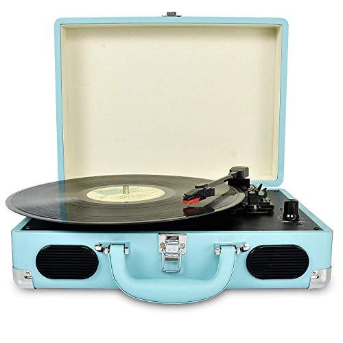 Portable Tocadiscos de Retro de 3 Velocidades, Vinyl Maletín giratorio con altavoz estéreo, Admite Auriculares Jack/Salida USB Convertir Vinilo Platos a MP3