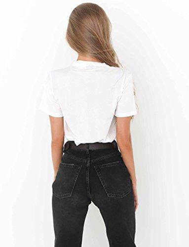 WanYang Donne Lettera Stampata T-Shirt Bianco Manica Corta Camicetta Sciolto Top Bianco