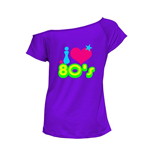 WOmen's I Loveheart 80s Scoop Neck T-shirt - Many Colours - Sizes 6 to 16