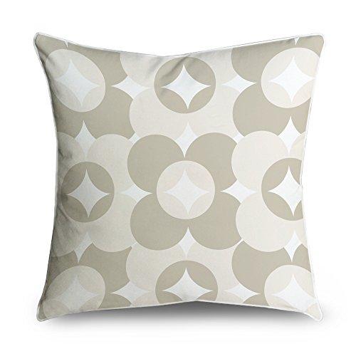 fabricmcc Abstract circle pattern Crema Taupe quadrato accento decorativo Throw Pillow Cover cuscino 18X 18