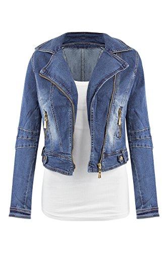 SheLikes Damen Jacke Gr. 34, blau (Rock Denim Jean Faded)