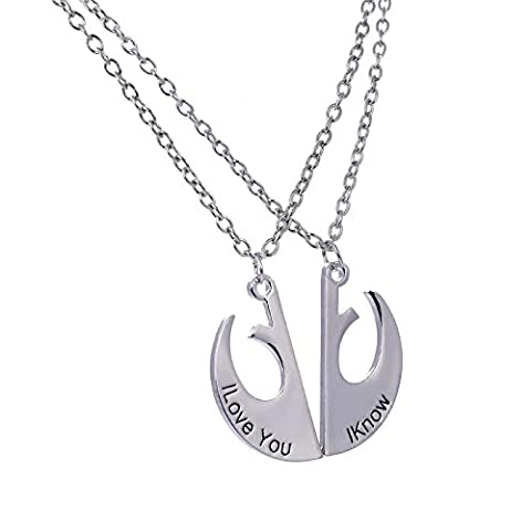 Star Wars Rebel Army Alliance I Love You I Know logo Pair Pendant Necklace Star wars Costume Props /