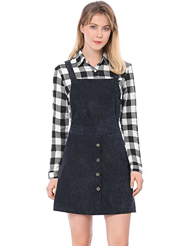 Allegra K Damen A Linie Button Dekor Corduroy Trägerkleid Kleid, M (EU - Corduroy Kostüm