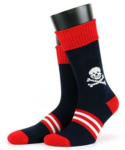 Image of Mens Corgi 100% Mercerised Cotton Skull Socks in Red/Navy
