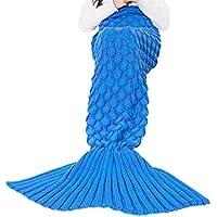 Triseaman Mujeres y Niñas Manta de cola de sirena Escala de pescado Sofá Salón de dormir Azul Niña
