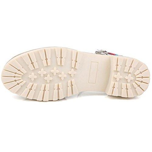 Senhoras Taoffen Confortáveis sapatos Estampas Florais Fechados Verão Meados Calcanhar Sandália Com Fivela 56 Multicolor