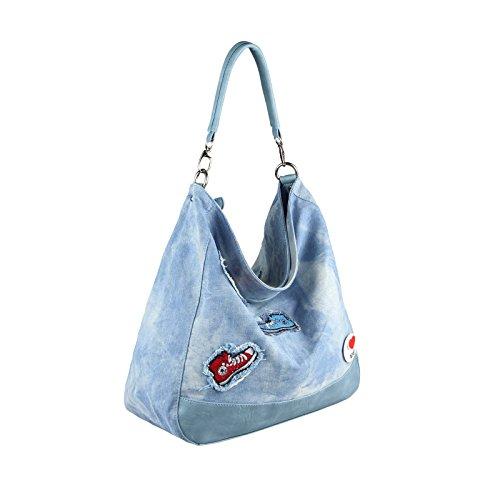 OBC ital-design XXL Damen Stern Tasche Fransen Handtasche Canvas Baumwolle Strasssteine Gold-Silber Bowling Beuteltasche Hobo-Bag Henkel Shopper CrossOver (Blau-Silber) Blau 47x36x15 cm