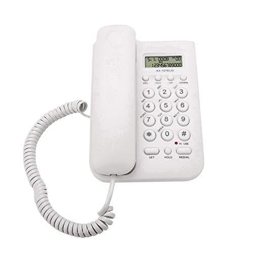 s Telefon/Schnurtelefon, LCD Display Home Wired Desktop Telefon Festnetztelefon,FSK/DTMF Einfaches Telefon Freisprechen Analog Telefon für Hause Büro Hotel usw.(Weiß) ()
