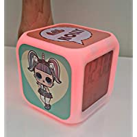 lol suprise doll personalised colour changing clock, alarm clock, lol, gift for girls, birthday, christmas