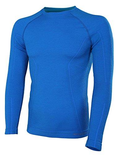 BRUBECK® ACTIVE WOOL Herren Langarm-Shirt (41% Merino Anti-allergisch Antibakteriell), Größen:M;Farbe:Blue