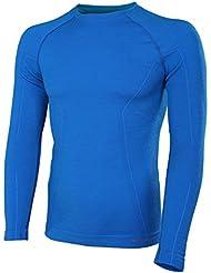 BRUBECK® ACTIVE WOOL Hombres Camiseta de manga larga (41% Lana Merino Hipoalergénico Antibacteriano), Tamaño:XXL;Color:Blue
