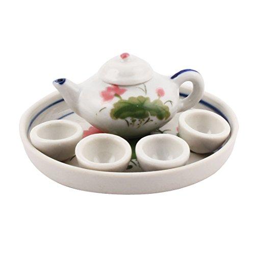 sourcingmap Home Office en céramique Lotus Fleurs Imprimé mini Set thé Théière plaque Décor Coupé