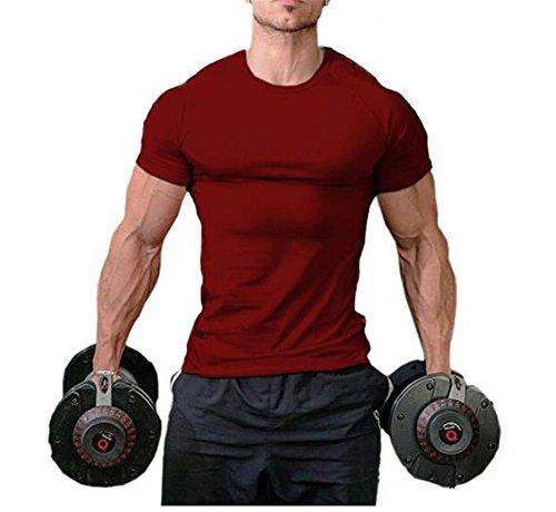 Burgund Kurzarm-shirt (Hippolo Männer Pure Cotton Fitness T-Shirt Muskel Body Shirt Kurzarm (M, Burgund))