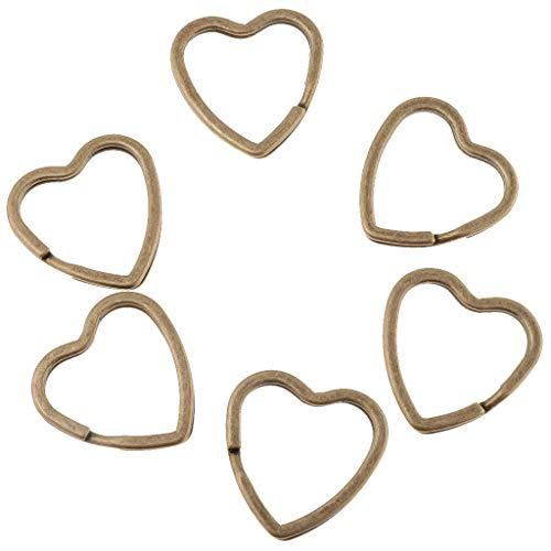 F Fityle 60 Stücke DIY Messing Runden Schlüsselring Herzform Schlüsselanhänger Ring Für Handwerk - Bronze -