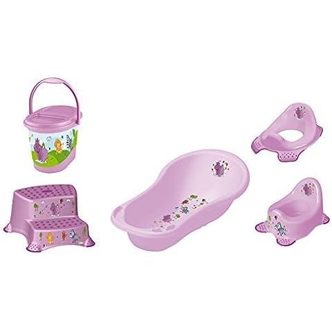 Set 5z ippopotamo viola: Vasca da bagno 84cm + attacco wc + bambini pentola + sgabello in due fasi + Secchio pannolino