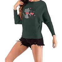 Minzhi Frauen Cat Bogen-Herz-Druck-T-Shirt O Ansatz beiläufiger Herbst Strickober Winter-Tees