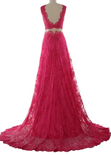 MACloth Women 2 Piece Long Prom Dress Straps V Neck Lace Formal Evening Gown Lavendel