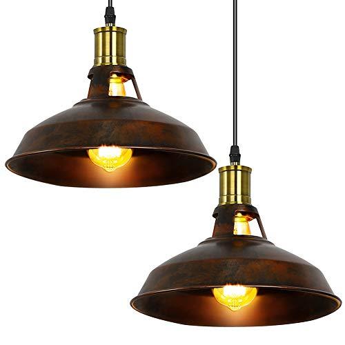 Fuloon lampadario vintage, lampade a sospensione plafoniera in stile vintage industriale lampada pendente del metallo classica lampada a soffitto luce e27 per caffè bar (marrone rosso-due)