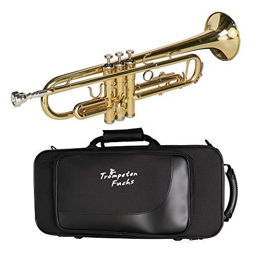 CASCHA Trompeten Fuchs Bb Trompete für Anfänger und Fortgeschrittene mit Zubehör, Mundstück, Reinigungstuch und Koffer, Gold