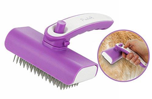 Pudel Pet Reinigung Bürste Stahl Pin Fellpflege für Hunde, Katzen, Pferde, Kaninchen & mehr, langlebig 16,5x 12,7cm einfach reinigen Ausfallen Groom Kamm mit zurück eingezogen von