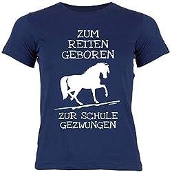 Mädchen/Kinder-Shirt Rubrik Lustige Sprüche Hobby Reiten: Zum Reiten geboren zur Schule gezwungen - Geschenkidee