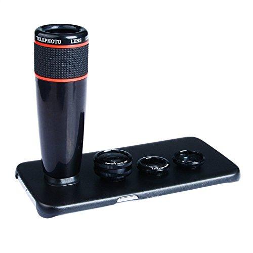 Galleria fotografica APEXEL 4 IN 1 Kit obiettivi 12x telecamere lenti a 180 gradi fisheye lente 2 IN 1 lente grandangolare e macro con custodia rigida in plastica per Samsung Galaxy S7