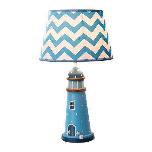 Schreibtischlampen Tischleuchten Schlafzimmer Nachttischlampe Kinderzimmer Tischlampe Mediterrane Tischlampe Blau Leuchtturm Stil Dekoration Junge Mädchen Tisch-&Nachttischlampen (Color : Blue)