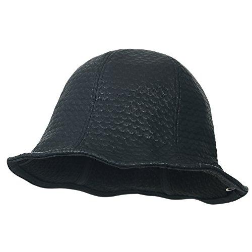 ililily gemustert schwarz Schlapphut rund Oberteil Fedora künstliches Leder Eimer Hut , Black Pattern (Full Brim Hut)