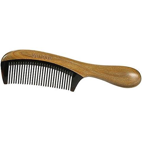 garcoo verde sándalo peine, Hecho a mano antiestática Buffalo Cuerno peine para desenredar, aroma natural madera peine para pelo cuidado