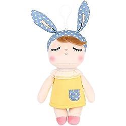 BELK Angela Smiling Bunny Girl peluche muñeca de la mochila clip llavero bolso colgante decoración del coche Kids cumpleaños Holiday Gift, orejas azules con vestido amarillo