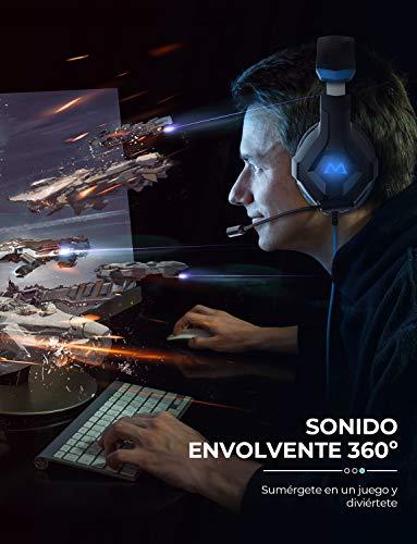 Mpow EG9 Auriculares Gaming PS4, Luz RGB,  Sonido Envolvente,  Auriculares con Micrófono de Cancelación de Ruido,  para PS4, PC, Xbox One, para Nintendo Switch,  iPad,  Móviles,  Cable 2.2m Diadema Ajustable