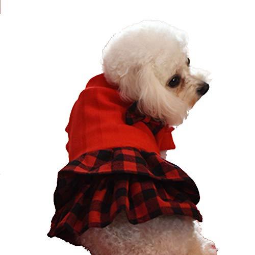 Plissee Karo-rock (NACOCO TM Das Neue Haustier Kleidung Haustier Kleidung Hund Rock Plissee Kleid Prinzessin Kleid, XL, Rot)