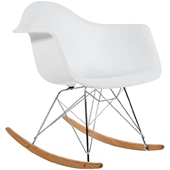 Charles Eames Style Cool White Plastic Retro Rocking Chair: Amazon ...