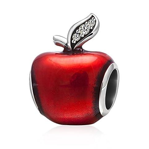 Hoobeads Breloque en argent sterling 925véritable Pomme de Blanche-Neige Émail rouge/transparent Zircone verte Pour bracelets européens