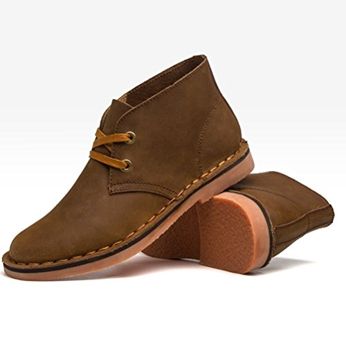 Vogstyle Homme Bottes Pure Couleur Martin en Cuir Vintage Handmake en Automne/Hiver Style-2 Marron Fur