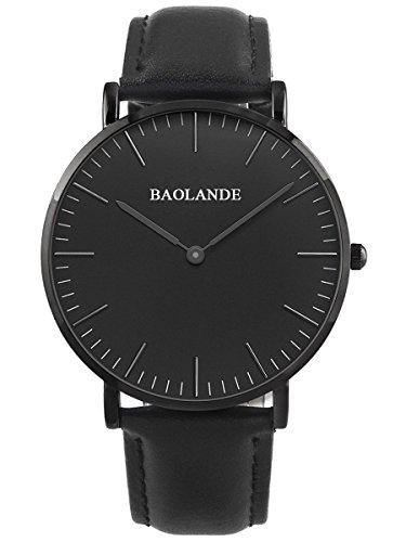 Alienwork-Classic-StMawes-Quarz-Armbanduhr-elegant-Quarzuhr-Uhr-modisch-Zeitloses-Design-klassisch-rose-gold-schwarz-Leder-U04816M-05