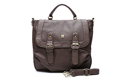 Bolsos mujer, bolso bandolera vintage stachel efecto piel marrón, bol