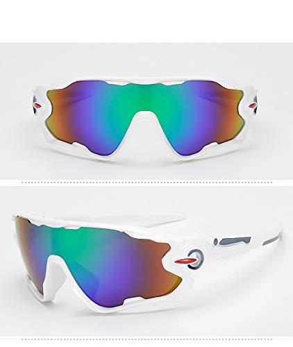 LLQ Sportbrillen für Männer und Frauen im Freien, echtes weißes Feld grünes Quecksilber