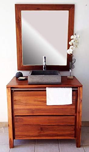 Salle de Bain en Teck Sirocco Natural Vernis et Son Miroir Teck Solo