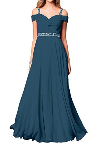 Ivydressing Damen Elegant Chiffon Lang Abendkleider A-Linie Festkleid Ballkleid Partykleider Inkblau