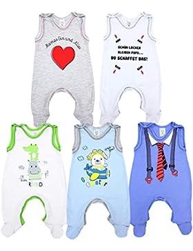 TupTam Baby Jungen Strampler mit Fuß Spruch 5er Pack