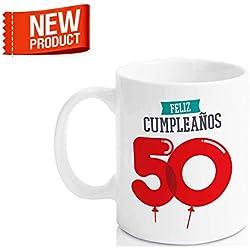 """Taza Cerámica para Desayuno en Color Blanco de 300 ml, Un Regalo Original para Aniversarios - """"Feliz 50 Cumpleaños"""""""