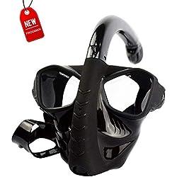 Nwhzl Masque de Plongée, Masque Tuba Snorkeling Plein Visage, Intégral Complet Antibuée et Anti-Fuite Lunettes de Plongée, Plein Visage 180° Visible avec la Support pour Caméra de SportBlack