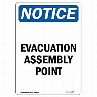 Queen54ferna Warnschild für Evakuation Montagepunkt aus Metall, 20 x 30 cm