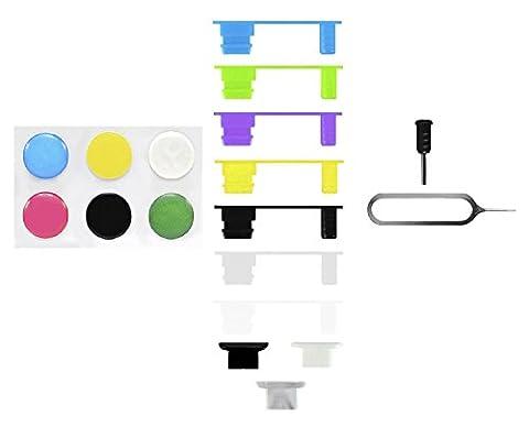 10 x Xcessor Port de Chargement et Bouchon de Protection de Connecteur Jack. Ensemble de 7 + 3 Plugs Anti-poussière en Silicone pour Apple iPhone 5 5S 5C et Apple iPhone 6, 2 Pièces d